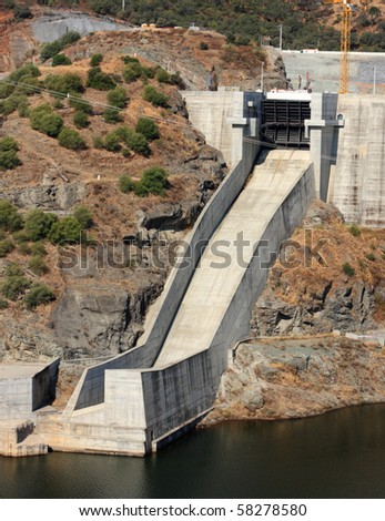One of Alqueva dam chute spillway, in Portugal. Image not sharpened, may look soft. - stock photo