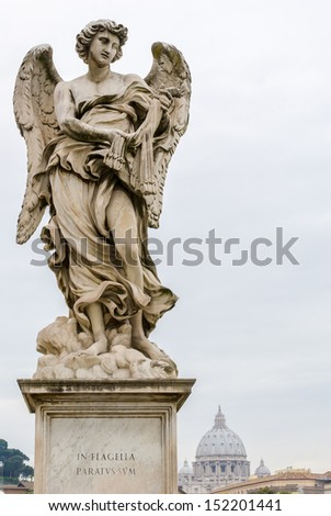 One of Bernini Angels on the ponte Sant'Angelo in Rome, Italy, - stock photo