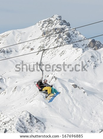 One of chair lifts in a ski resort of a valley of the Zillertal - Mayrhofen, Austria
