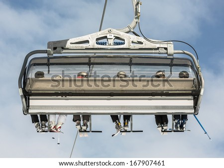 One of chair lifts in a ski resort of a valley of Zillertal - Mayrhofen region, Austria - stock photo