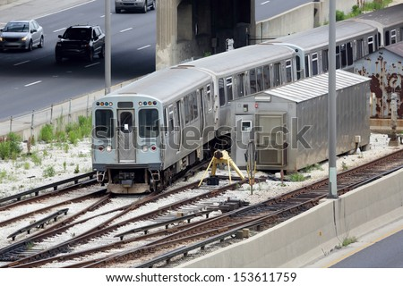 One of Chicago's commuter trains - stock photo