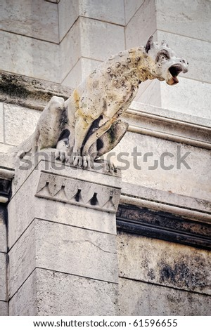 One of famous Chimera on the Not-re Dame - stock photo