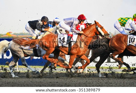 One of 9 horse races that passed during Dubai World Cup day in Meydan Racecourse on Saturday, 29th March 2014. Dubai, United Arab Emirates. - stock photo