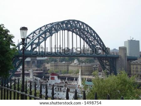 One of landmarks of Newcastle England -- Tyne Bridge - stock photo