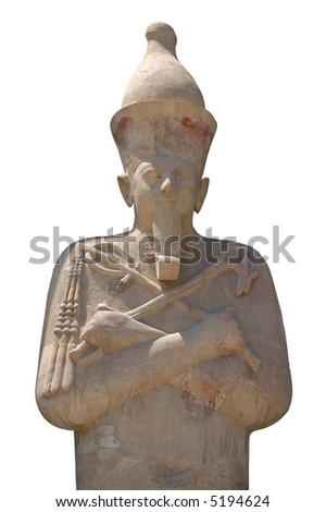 One of large Osirid statues of the queen  Hatshepsut isolated on white background Luxor Egypt - stock photo