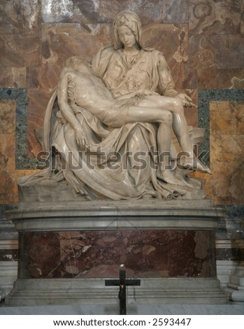 One of Michelangelo's most famous works: Pieta in St. Peter's Basilica in Vatican - stock photo