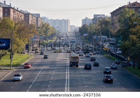 One of moscow big roads. - stock photo