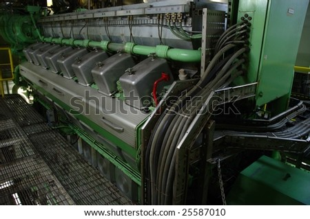 One of several main engines on massive oil tanker - stock photo