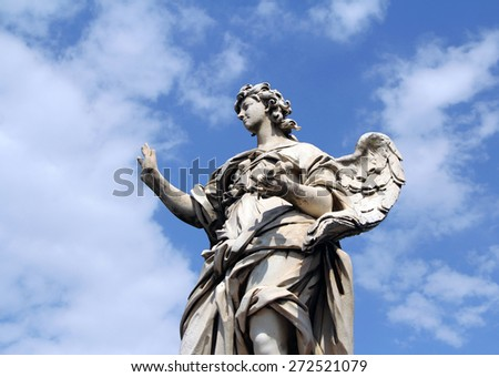 One of the angels at Castel Sant' Angelo in Rome, Italy - stock photo