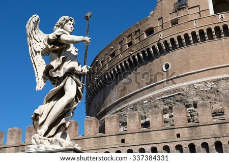 One of the angels at the famous Sant  Angelo bridge, Rome, Italy. - stock photo