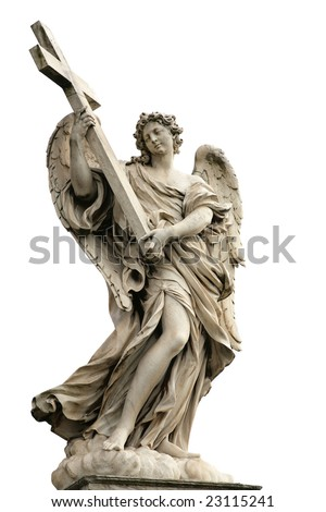 """One of the angels on the bridge """"Ponte Sant Angelo"""" in Rome, Italy - stock photo"""