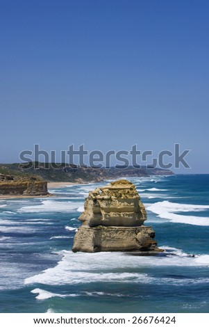 One of the 12 apostles on the Great Ocean Road, Victoria, Australia, Plenty of room for text at top of image