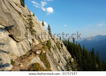 One of the difficult hiking trail on the cliff of sulphur mountain, banff national park, alberta