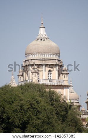 One of the domes adorning Osmania Hospital in the centre of Hyderabad, India.  Built in Victorian times it is one of the best known landmarks in the city. - stock photo