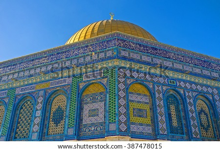 One of the eight corners of the Dome of the Rock, covered with colorful islamic patterns, Jerusalem, Israel.