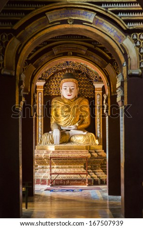 One of the 580000 famous Buddhas at Thanboddhay Pagoda, Monywa, Sagaing Region, Myanmar, Southeast Asia - stock photo
