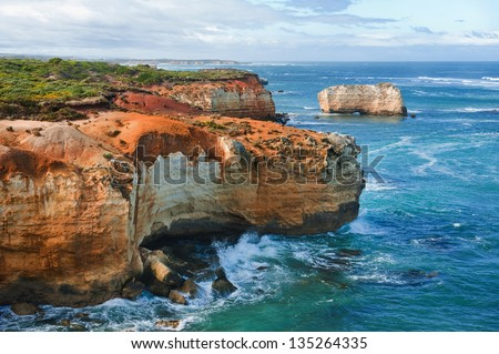 One of the famous rocks in the Bay of Islands Coastal Park,Great Ocean Road, Australia - stock photo