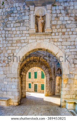 One of the gates to the old walled city of Dubrovnik, Croatia - stock photo