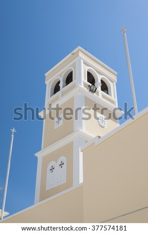 One of the Greek Orthodox churches in the town of Lerapetra on Crete. - stock photo