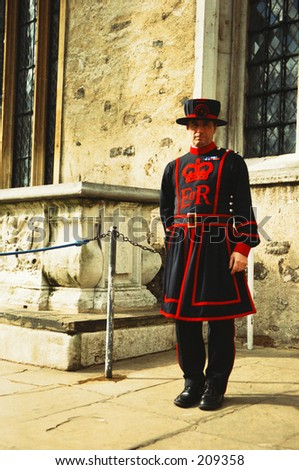 One of the Guides at the Tower of London. Better known as Befeater.
