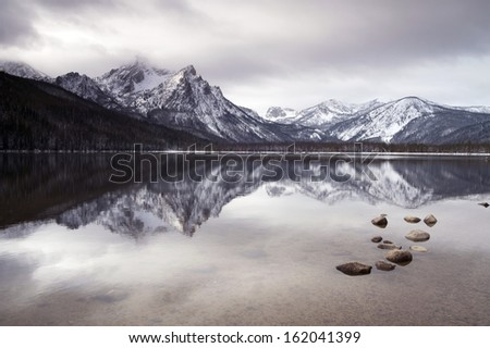 One of the high mountains around Lake Stanley winter near Sun Valley Idaho country landscape - stock photo