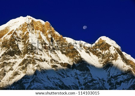One of the highest peaks of the world in the mountain of the Himalayas - snow Annapurna.
