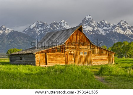 One of the homesteads of Mormon Row along the Jackson-Moran Road near the southeast corner of Grand Teton National Park, in the valley called Jackson Hole.
