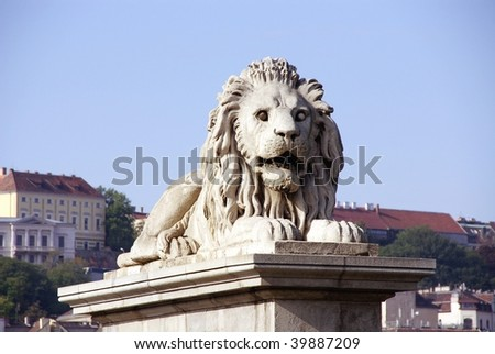 One of the lions at the chain bridge in Budapest - stock photo