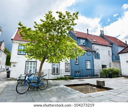 One of the many beautiful streets of Bergen city in Norway - stock photo