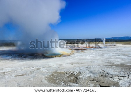 One of the many geyser Basins in Yellowstone National Park - stock photo