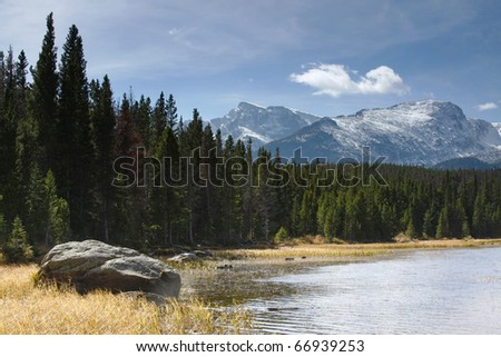 One of the Many Lakes in the Rocky Mountain National Park - stock photo