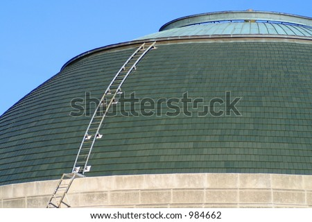 One of the many roof domes that can be seen around the Hyde Park area of Chicago, Illinois. - stock photo