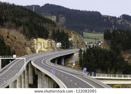 One of the many viaducts at the E5 - E80 highway in Basque Country, Spain - stock photo