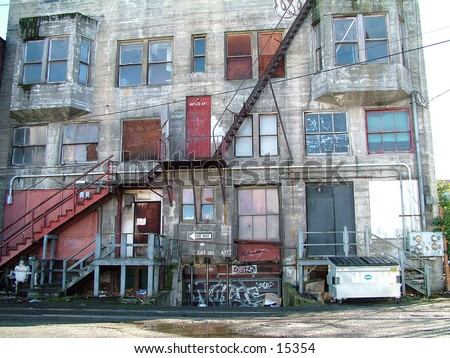 one of the more run down buildings in town - stock photo