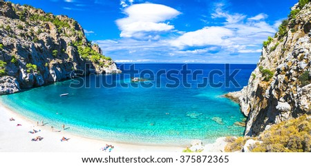 one of the most beautiful beaches of Greece - Achata, Karpathos - stock photo
