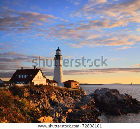 One Of The Most Iconic And Beautiful Lighthouses, The Portland Head Light At Sunrise, Portland, Maine, USA - stock photo