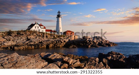 One Of The Most Iconic And Beautiful Lighthouses, The Portland Head Light Under Early Morning Skies, Portland, Maine, USA - stock photo
