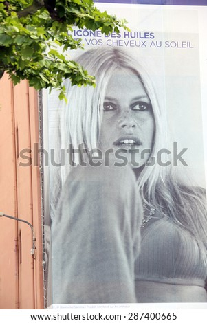 One of the numerous of fragments of panel on the facade of houses in Cannes on May 18, 2015 in Cannes, France. - stock photo