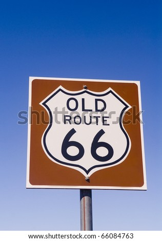 """One of the old historic Route 66 signs found along what is known as """"The Mother Road."""" - stock photo"""