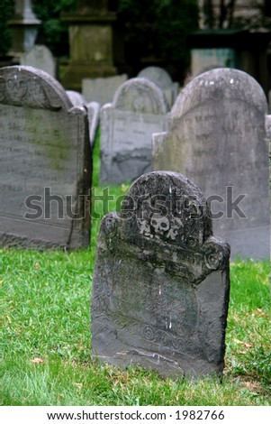 One of the oldest graveyards in america is in boston massachusetts, here is a scene from king's chapel cemetery - stock photo