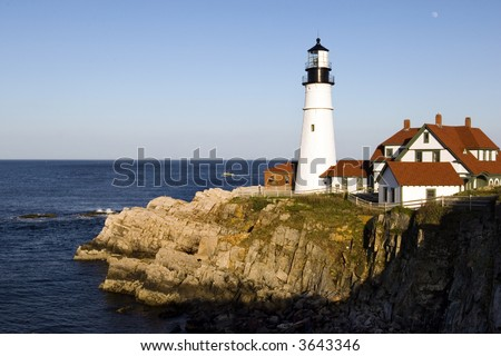 One of the oldest lighthouses on USA Atlantic coast, in Portland (Maine) - stock photo