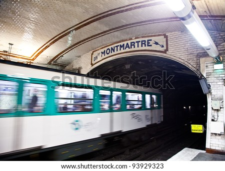 One of the oldest metro station in Europe - Paris underground - stock photo