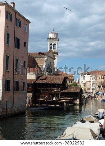 One of the oldest workshops producing gondolas in Venice, located in San Trovaso in the Dorsoduro district - stock photo