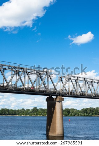 One of the piers supporting the railroad bridge across the Dnieper in Kyiv - stock photo