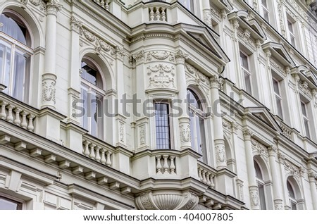 One of the residential buildings in the art-nouveau style in Prague - stock photo