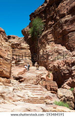 One of the rocks in Petra (Rose City), Jordan. The city of Petra was lost for over 1000 years. Now one of the Seven Wonders of the Word - stock photo