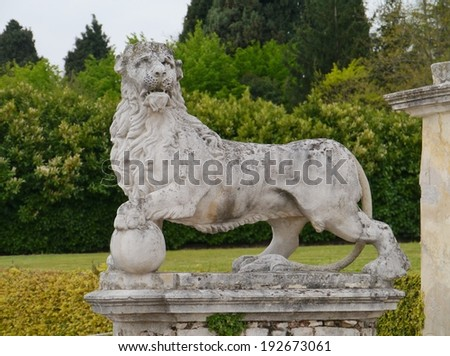 One of the sculpures in the park of the villa Barbaro also known as the Villa di Maser is a large villa at Maser in the Veneto region of northern Italy - stock photo