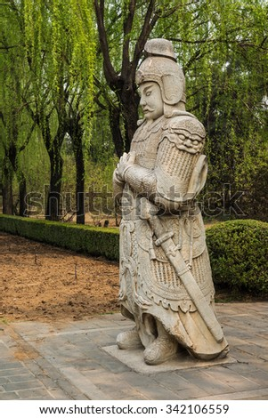 One of the 36 stone statues on the Spirit Way, path leading to the Ming Tombs, Beijing, China