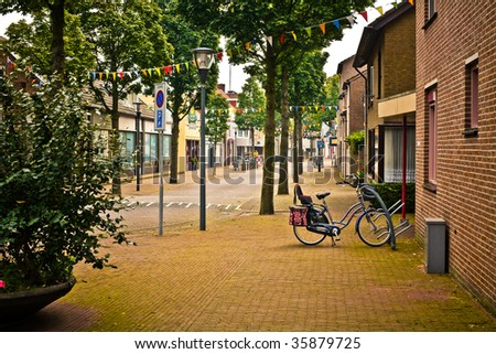 One of the streets of a Netherlands town Cuijk. - stock photo