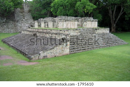 One of the temples in the Copan Ruinas - stock photo